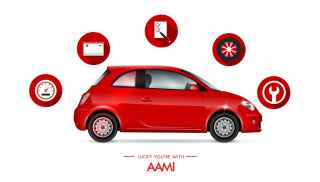 Lucky you're with AAMI - red car with service icons