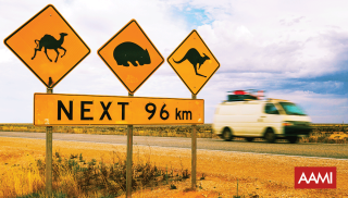 Road signs in the outback with a van driving past