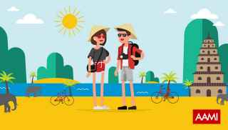 Cartoon image of two people on a beach holiday