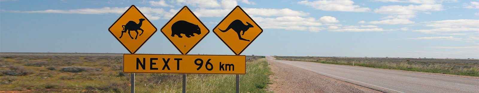 Warning signs for wildlife in the Australian outback