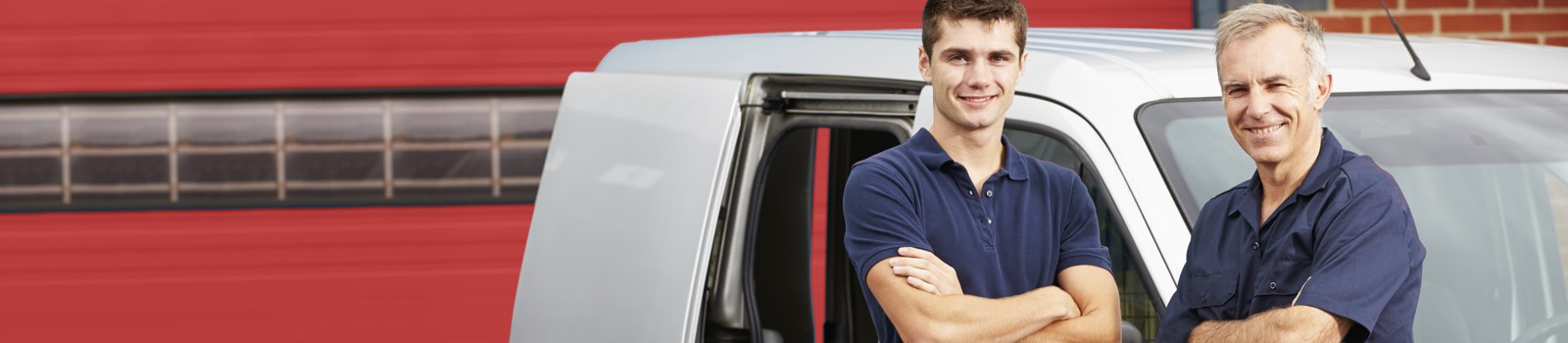Two men with white van having red background