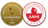 Complete Replacement Cover and Approved Repairs badges